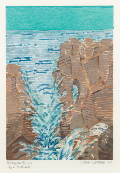 Pancake Rocks, New Zealand (2006) | watercolour – 24x17cm – #77489