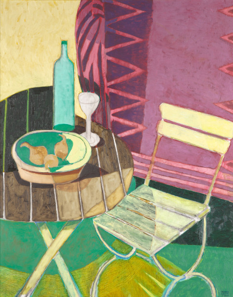 Still life with onions and chair (2000) | oil painting – 100x80cm – #79311