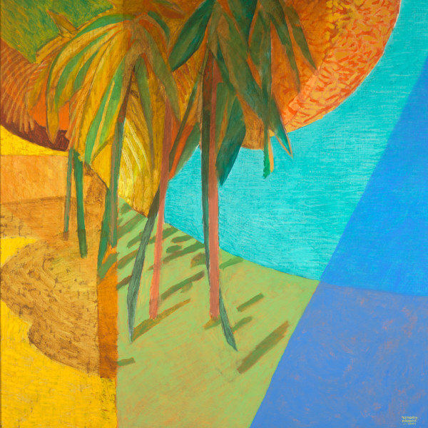 Palm trees at Anse Union – La Dique, Seychelles (2001) | oil painting – 100x100cm – #79337