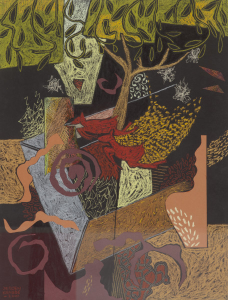 Deer taking refuge in the woods 7 (2003) | mixed media – 65x50xm – #79381