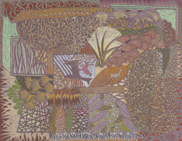 Encounter with two deer and a bird (2003) | mixed media – 50x65cm – #79389