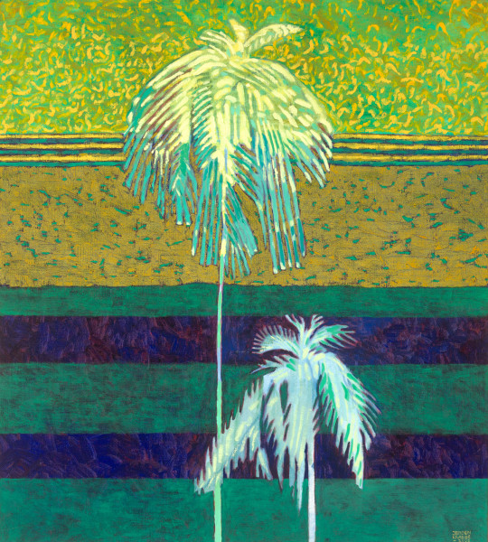 Two palm trees and Andaman Sea, Thailand (2002) | oil painting – 100x90cm – #79439