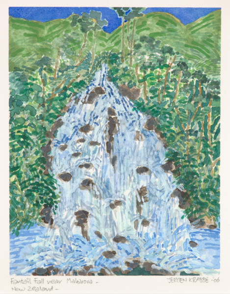 Fantail Fall near Maharora (2006) | watercolour – 24x19cm – #79482
