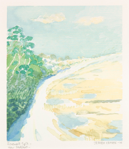 Farewell Spit, New Zealand (2006) | watercolour – 25x22cm – #79484
