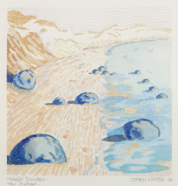 Moeraki Boulders, New Zealand (2006) | watercolour – 23x23cm – #79486