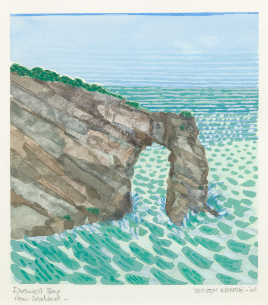 Farewell Bay, New Zealand (2006) | watercolour – 22x20cm – #79488