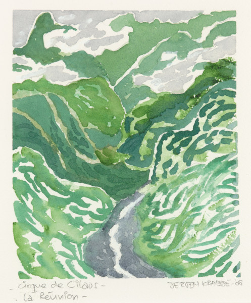 Cirque du Cilaos – la Réunion (2008) | watercolour – 15x18cm – #79639